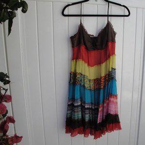 BCBG BOHO Dress-spaghetti straps 8 Multi Color